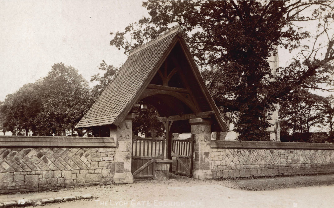 Postcard of the Lych Gate at Escrick Church