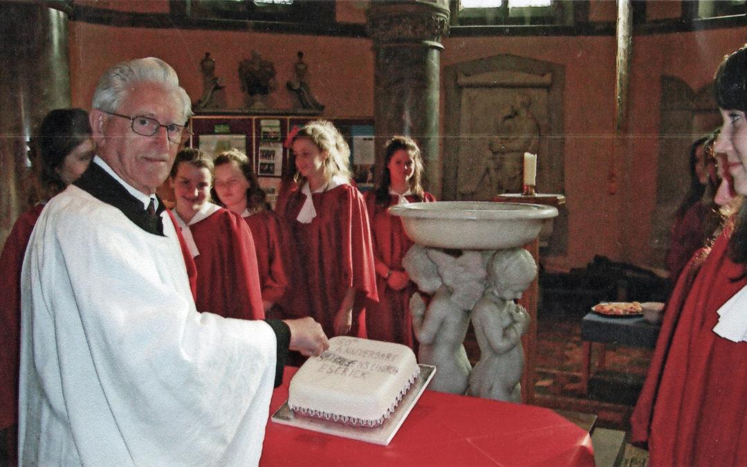Bill Reader, Church Warden cuts Escrick Church 150 anniversary cake – 2007