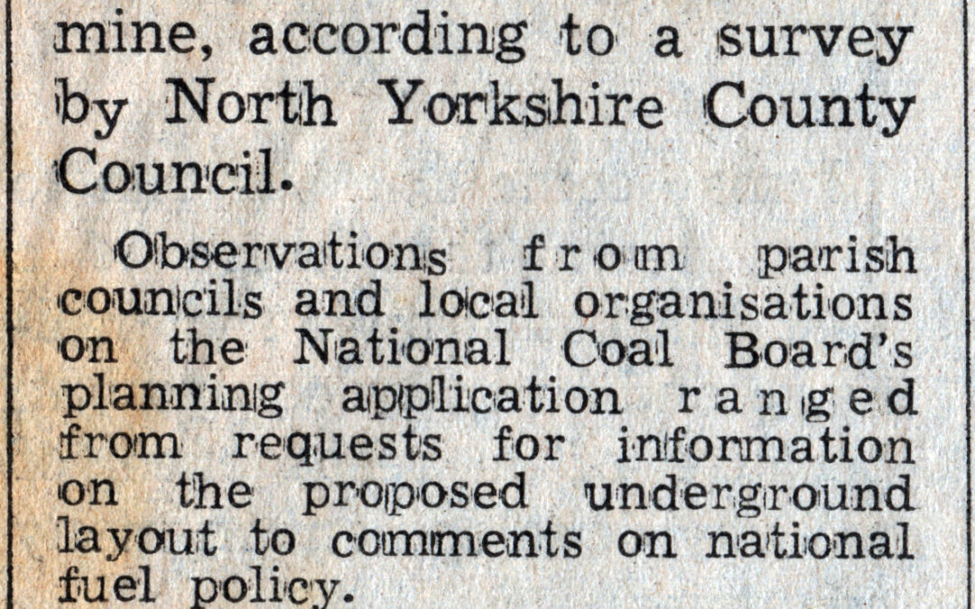 Subsidence fears & mining (c1975) – A North Yorkshire County Council Survey