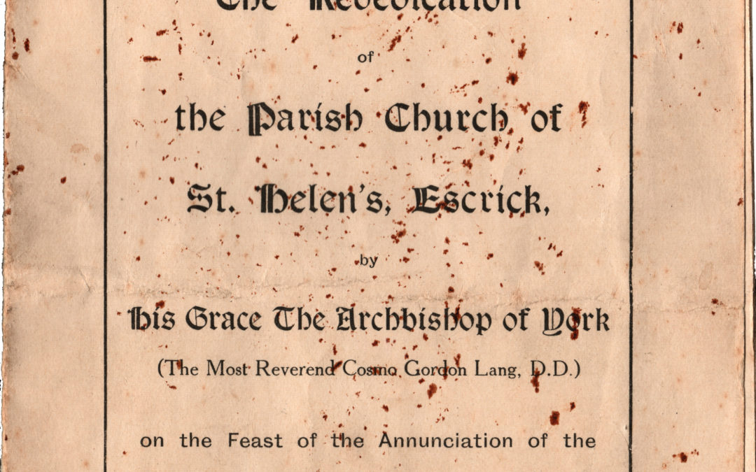 Order of Service – Rededication of Escrick Church 25 March 1925 – After the fire of 1923