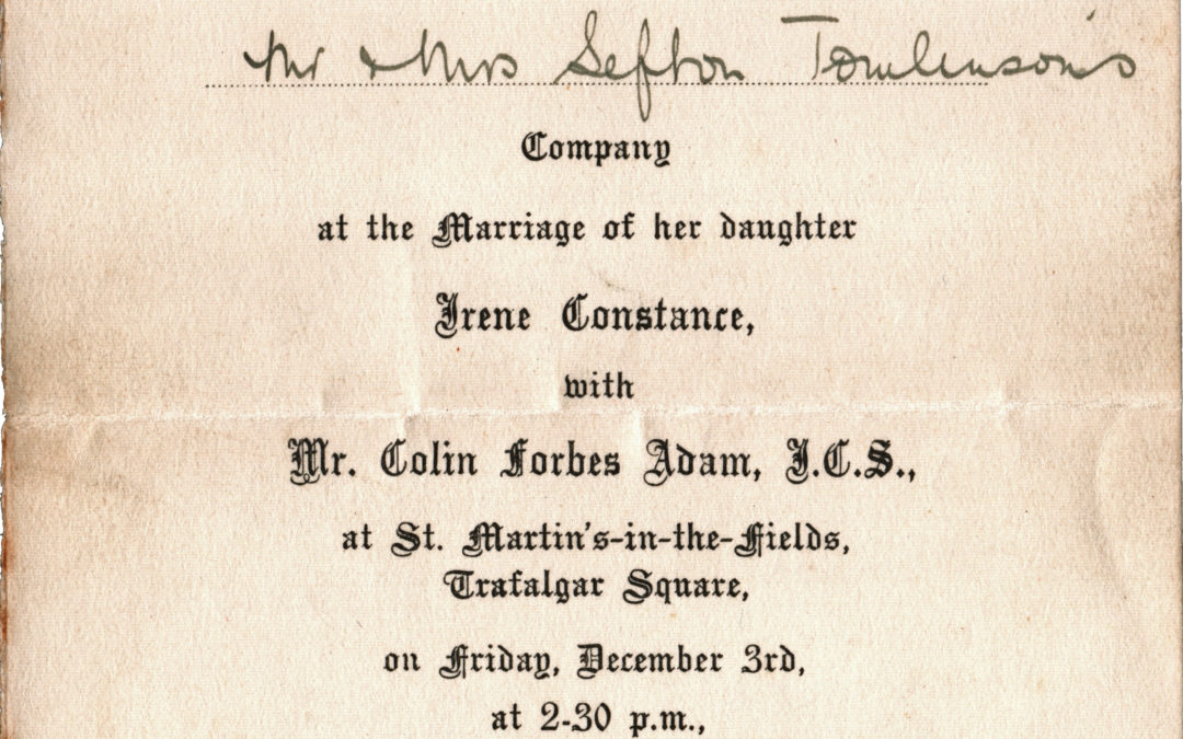 Mr & Mrs Sefton Tomlinson invited to wedding of Irene Constance & Colin Forbes Adam