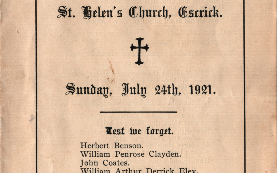 Order of Service – Unveiling & Dedication of War Memorial at Escrick Church 24 July 1921