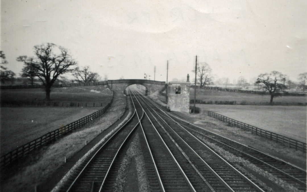 East Coast main line at Escrick South near Mount farm Bridge – March 1953.  Looking towards Escrick & York showing Loop Live for goods trains to allow express trains to pass