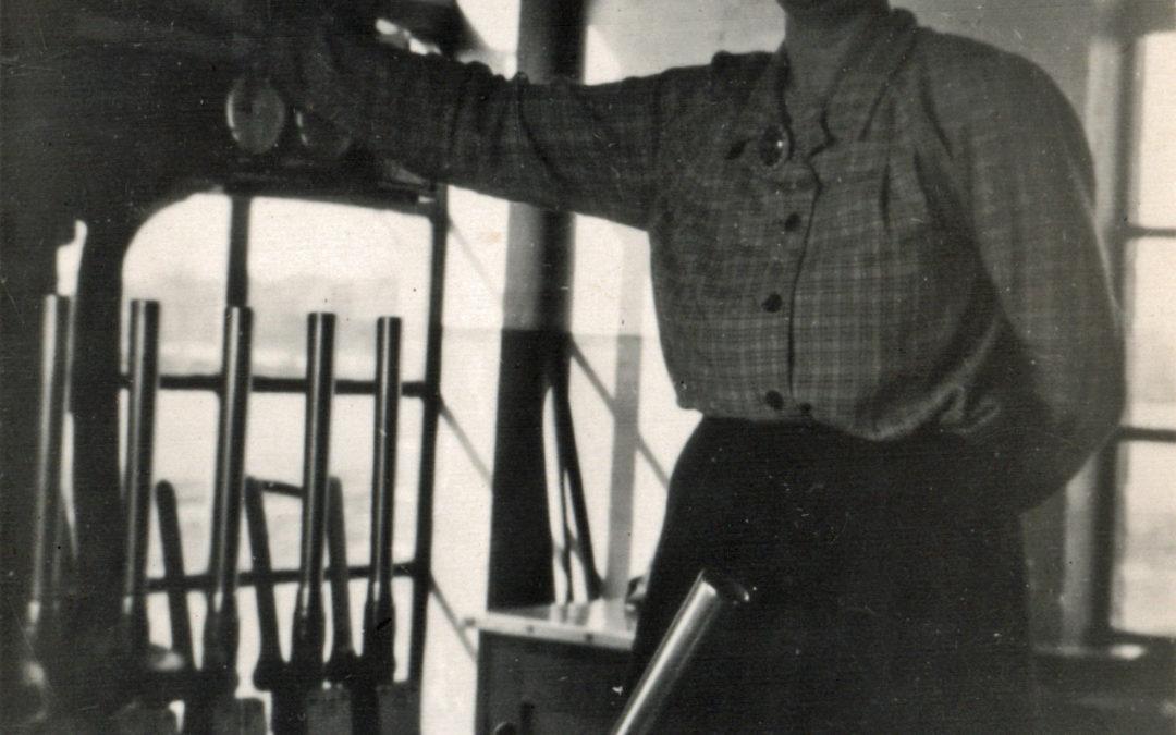 Signal Box at Escrick South, Elizabeth Tomlinson on duty  – Mount Farm Siding 1951