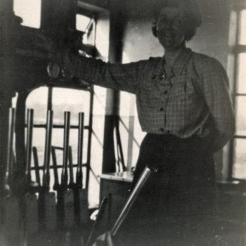 Signal Box at Escrick South, Elizabeth Tomlinson on duty - Mount Farm Siding 1951
