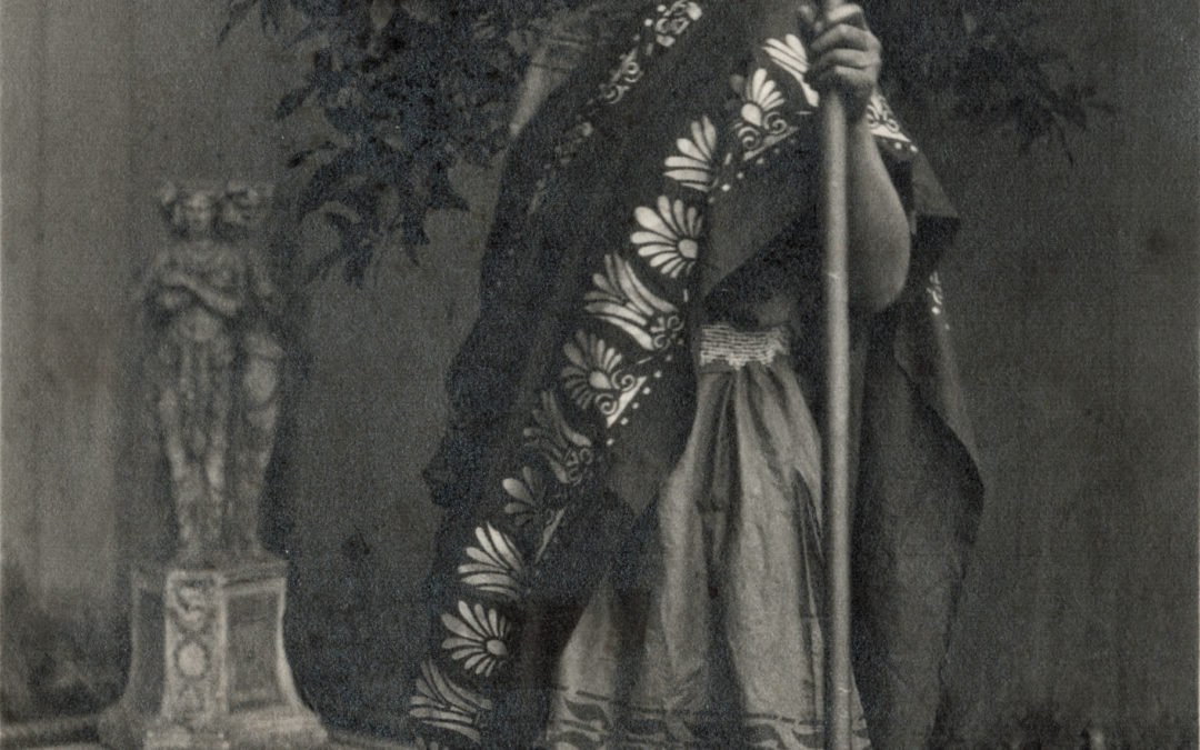 Postcard of Elizabeth Tomlinson dressed as Thesius in a Forbes Adam Drama production