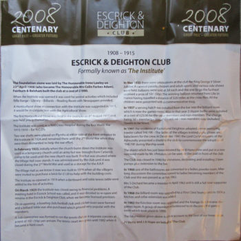 Escrick & Deighton Club 1908 - 2008 Centenary Poster