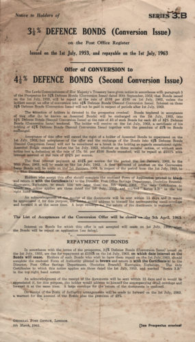 Post Office Defence Bond Series 3.B - July 1953