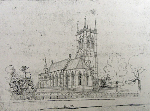 Sketch of proposed new Gothic Church at Escrick