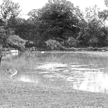 Postcard of Escrick Park pond by Red House