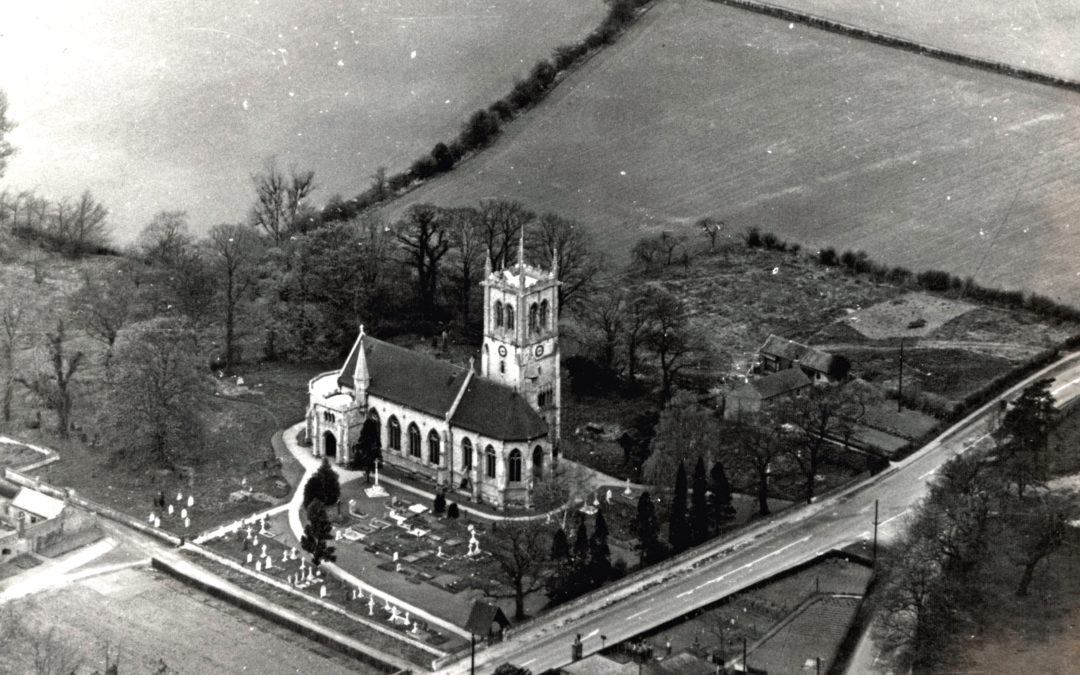 Aerial view of Escrick Church – c1950