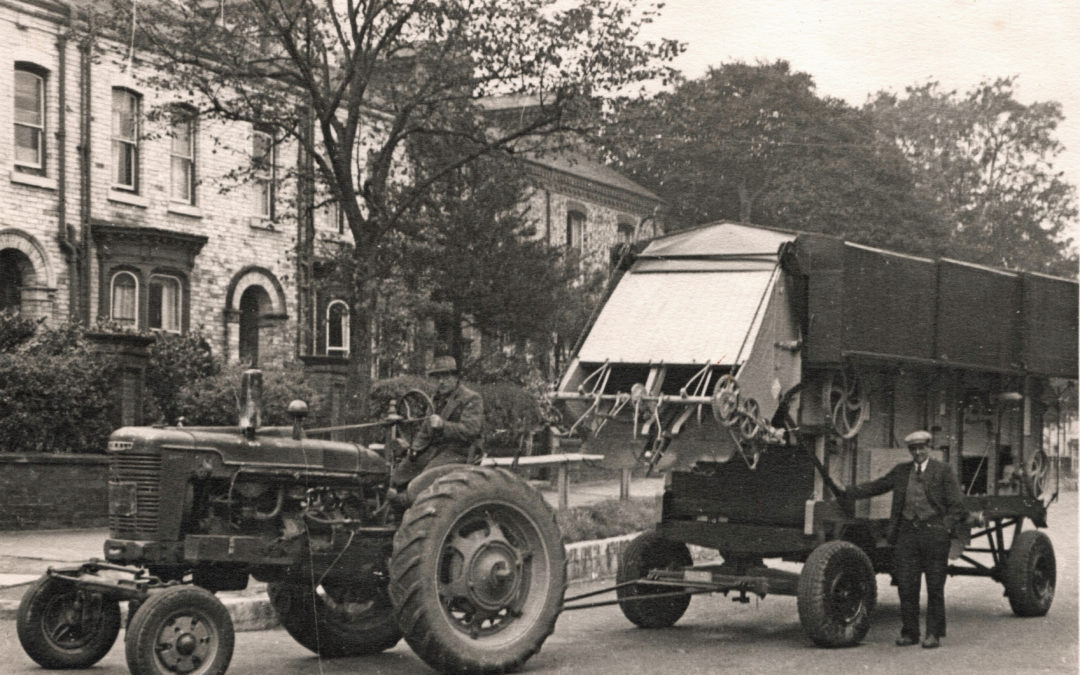 New Threshing machine on Huntington Road – Mr Crosby driving – Harry Kendal Gibson standing