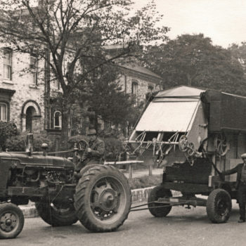 New Threshing machine on Huntington Road - Mr Crosby driving - Harry Kendal Gibson standing