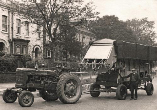New Threshing machine on Huntington Road - Mr Crosby driving - Harry Kendal Gibson standing