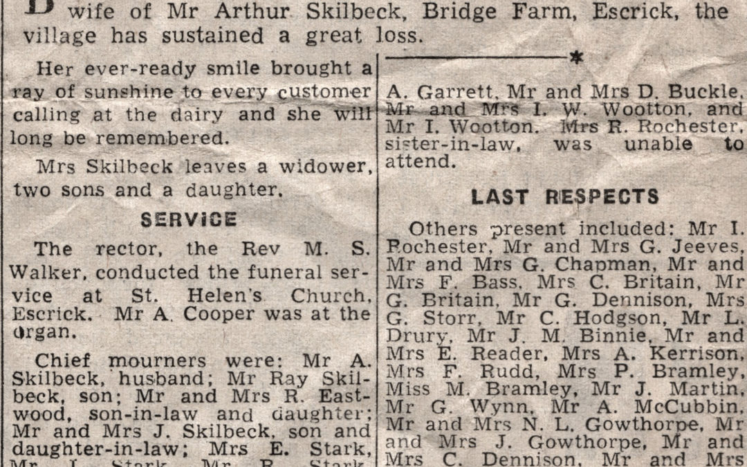 Press Cutting of Mrs Skilbeck funeral – Dorothy May Skilbeck, wife of Arthur, Bridge Farm Escrick