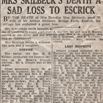 Press Cutting of Mrs Skilbeck funeral - Dorothy May Skilbeck, wife of Arthur, Bridge Farm Escrick