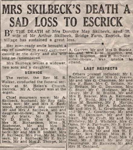 Press Cutting of Mrs Skilbeck funeral - Dorothy May Skilbeck, wife of Arthur, Bridge Farm Escrick