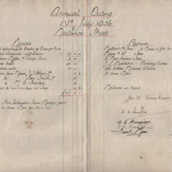 Escrick & Deighton Club Annual Outing accounts - 17 Jul 1936