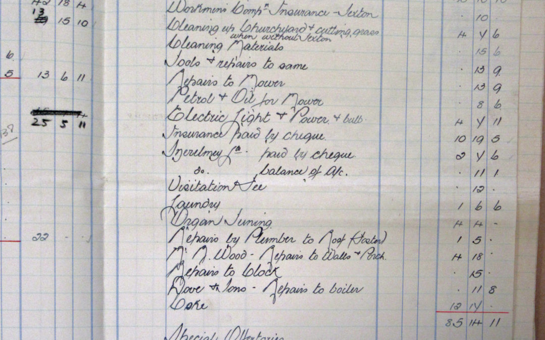 Extract of Church Wardens Accounts St Helen's Escrick – 1938