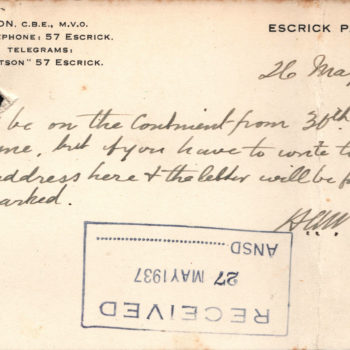 Escrick Park Memo 1937