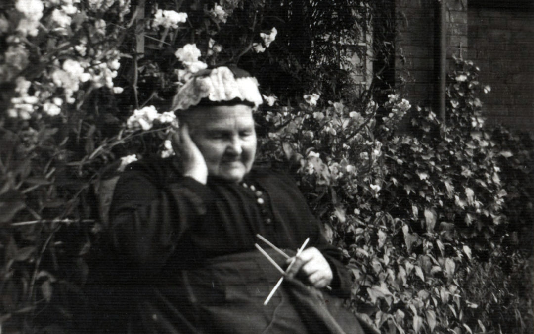 Mrs Raper outside the Almshouses  knitting socks during WW1 – Mrs Raper was 1st resident of Almshouses & 2 of the Raper boys were killed in action during WW1