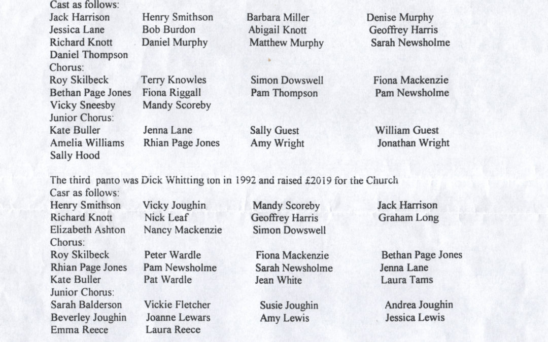 List & Cast of Monday Player's Pantomimes from 1988 to 2000