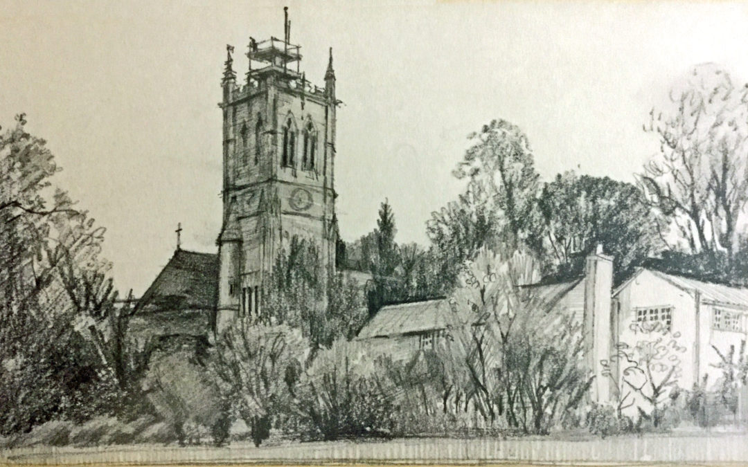 Pencil drawing of Escrick Church 1995 – Showing scaffolding on tower