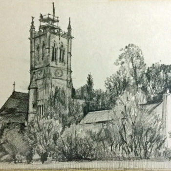 Pencil drawing of Escrick Church 1995 - Showing scaffolding on tower