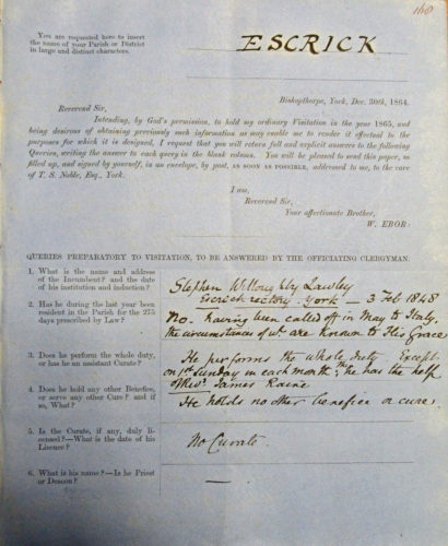 Queries Preparatory to visitation by W. Ebor to Stephen Lawley - 30 Dec 1864