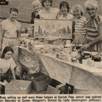 Escrick Fete stall at Queen Margaret's School, opened by Lady Dunnington Jefferson