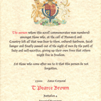 Commemoration of Lance Corporal Tom Pearce Brown as depicted on a brass plaque on the Escrick Church Funeral Bier