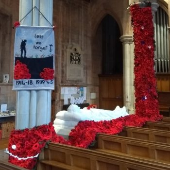 Knitted Poppy Display in Church throughout November.